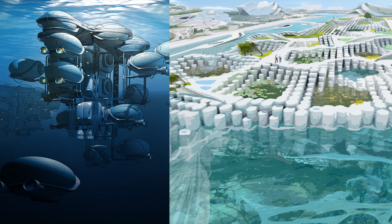 02 | The Floating City leverages innovations in ocean engineering to create an urban system that operates in symbiosis with its surrounding ecology both above and below the surface. Illustrations by Alisa Romanova and Anda Sung.